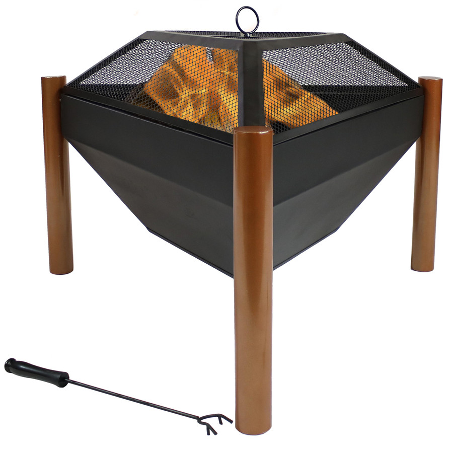 Outdoor Wood Burning Steel Triangle Fire Pit and Coffee Table