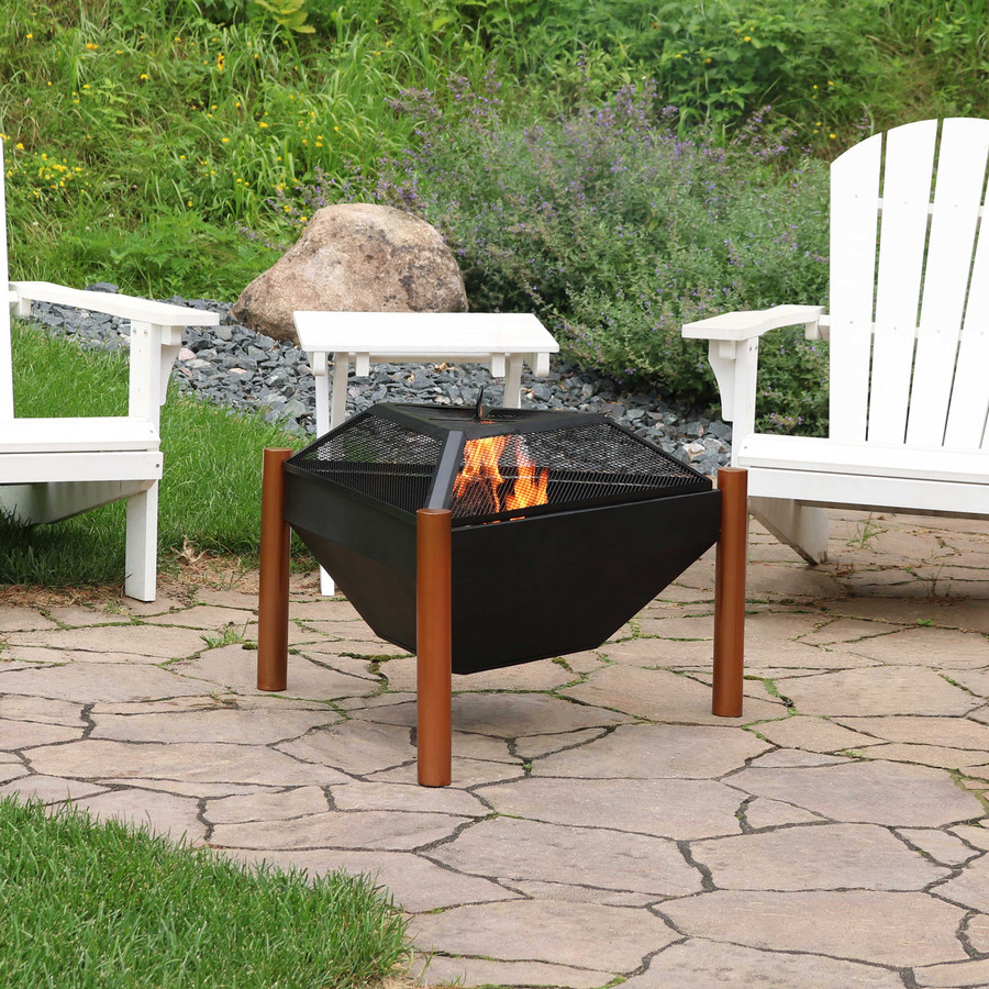 Sunnydaze Outdoor Wood Burning Steel Triangle Fire Pit and Side Table