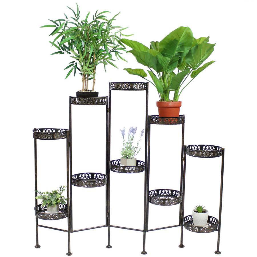 10-Tier Steel Indoor and Outdoor Folding Plant Stand