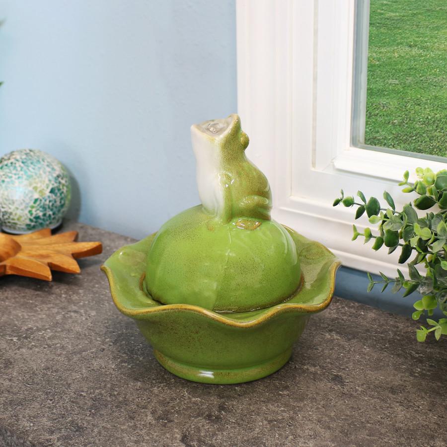 Ceramic Frog Indoor Tabletop Water Fountain