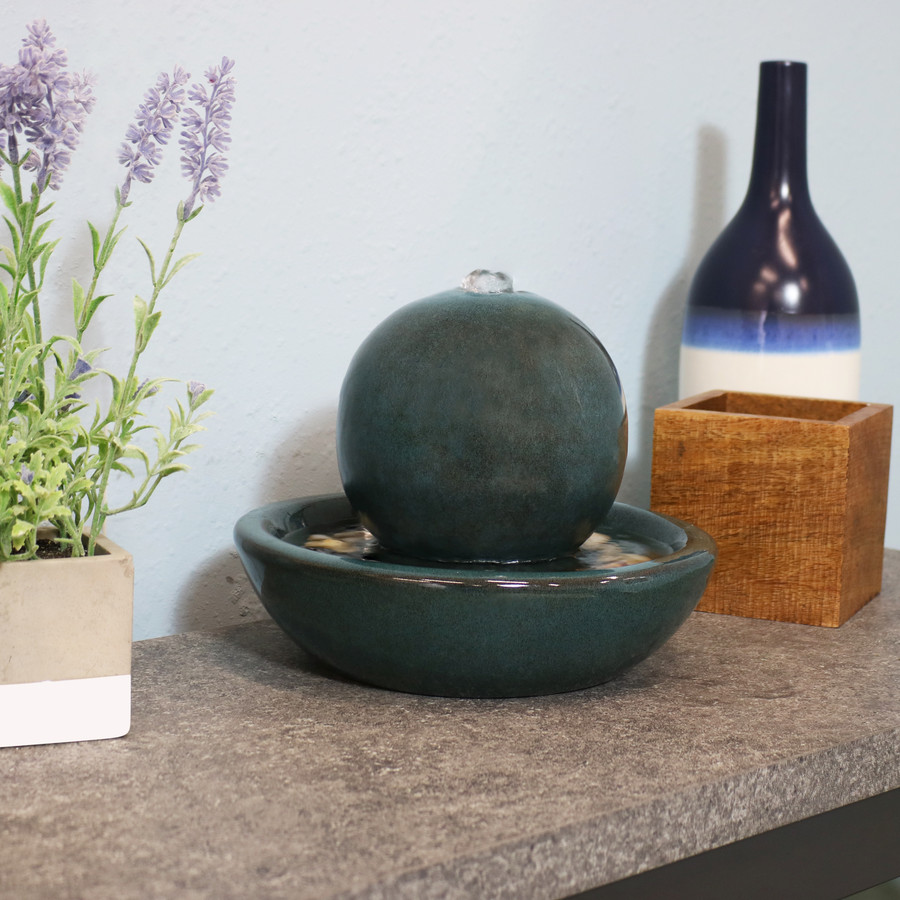 Ceramic Orb Indoor Tabletop Water Fountain