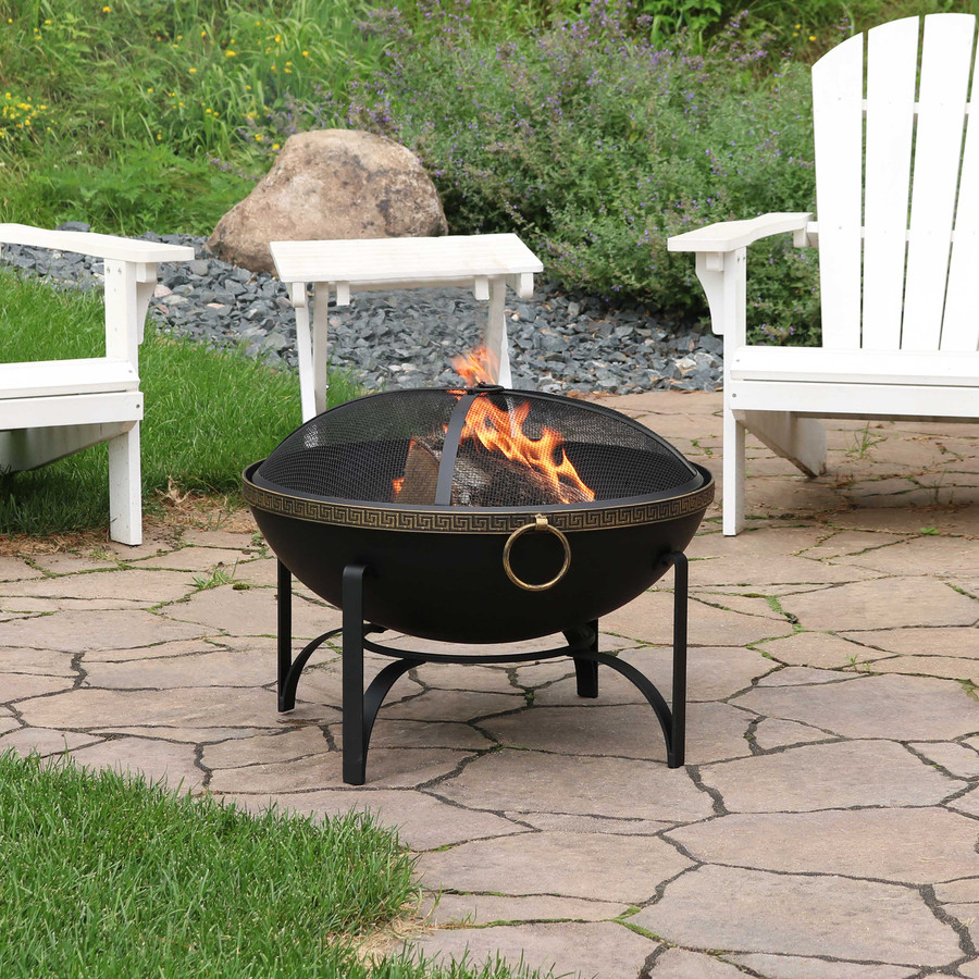 Contemporary Steel Outdoor Wood Burning Fire Bowl