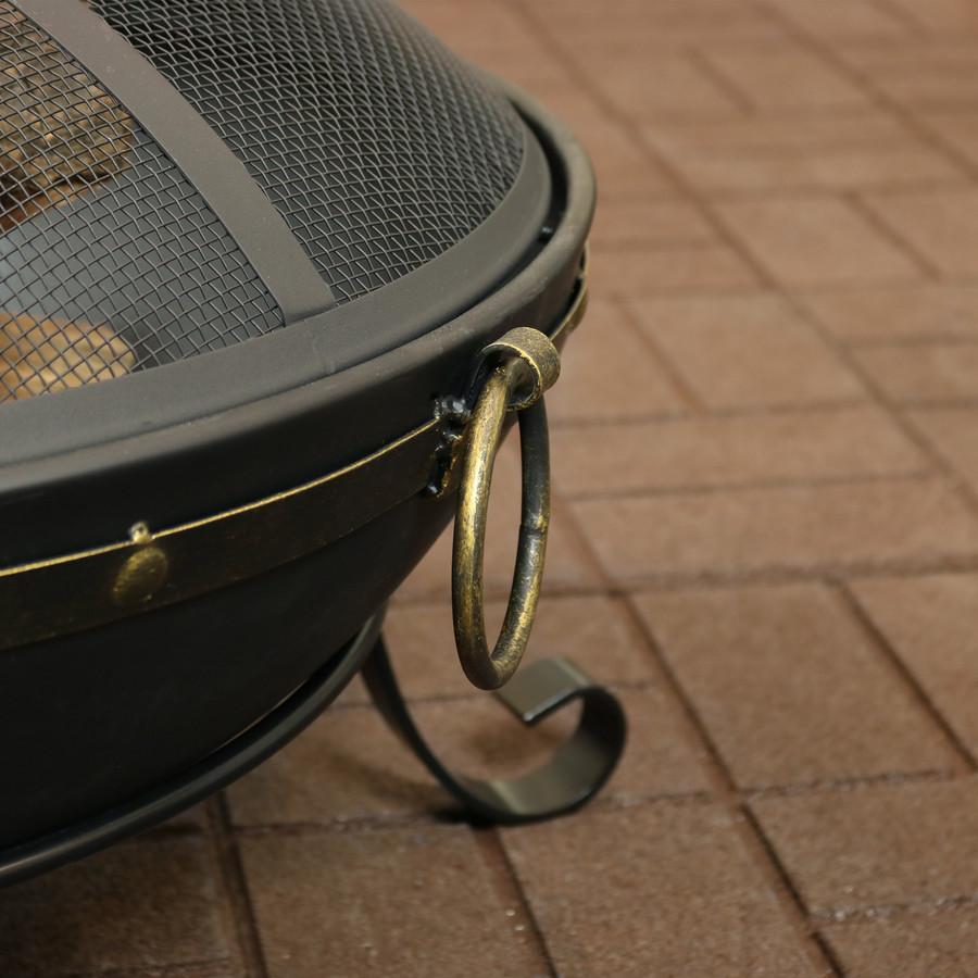 Sunnydaze Victorian Steel Outdoor Wood Burning Fire Bowl, 25-Inch Diameter