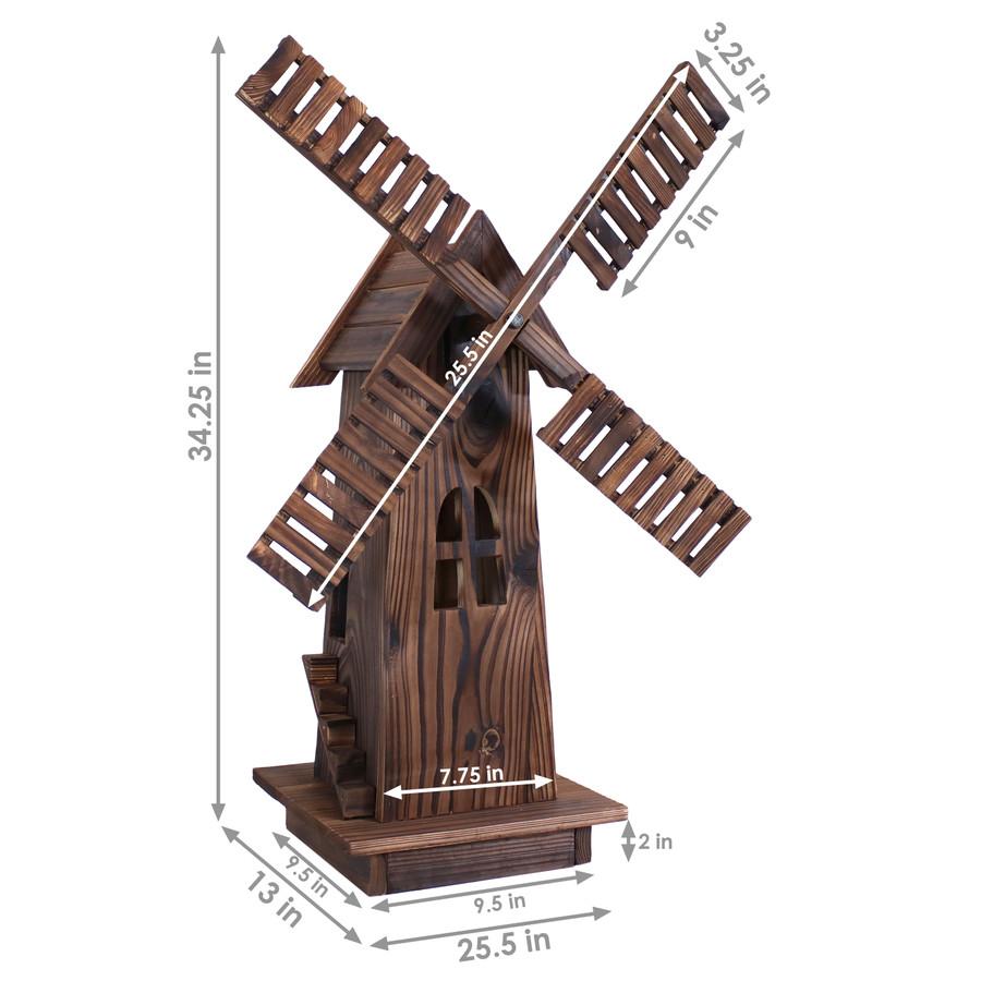 Sunnydaze Outdoor Wood Decorative Dutch Windmill, 34-Inch