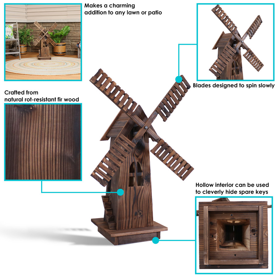 Sunnydaze Outdoor Wood Decorative Dutch Windmill, 34-Inch