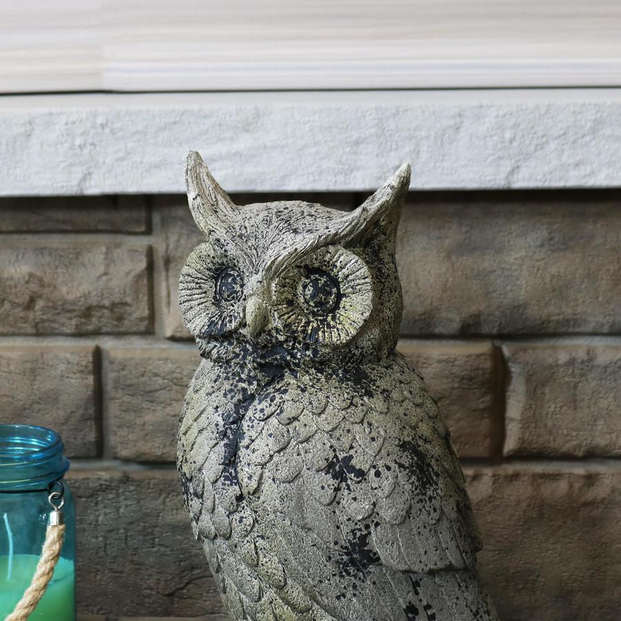 Closeup of Great Horned Owl Outdoor Garden Statue