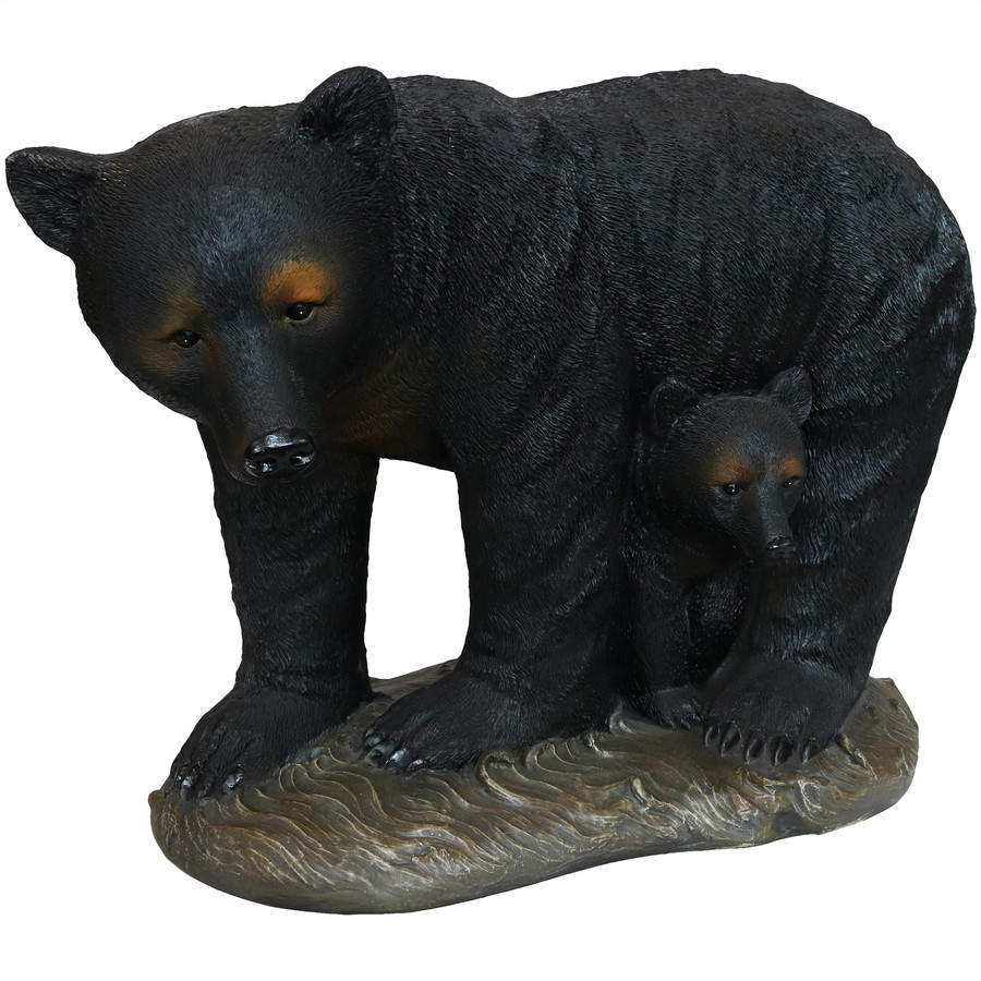 Mama Bear and Cub Rustic Outdoor Garden Statue