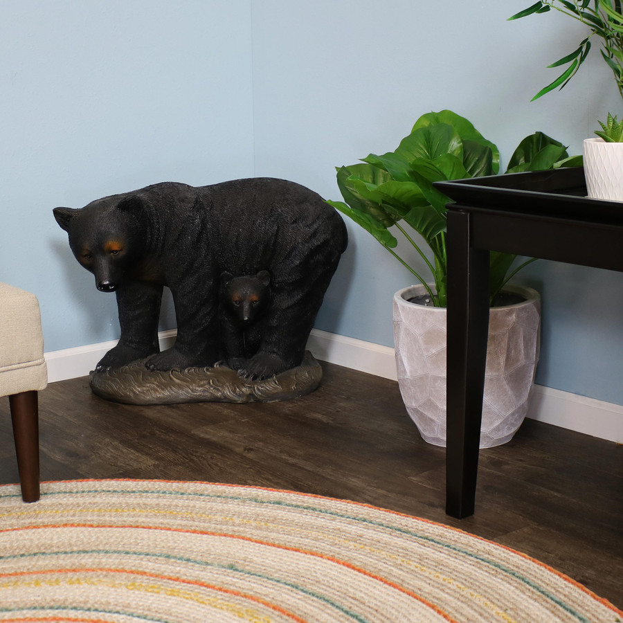 Mama Bear and Cub Rustic Statue, Indoors