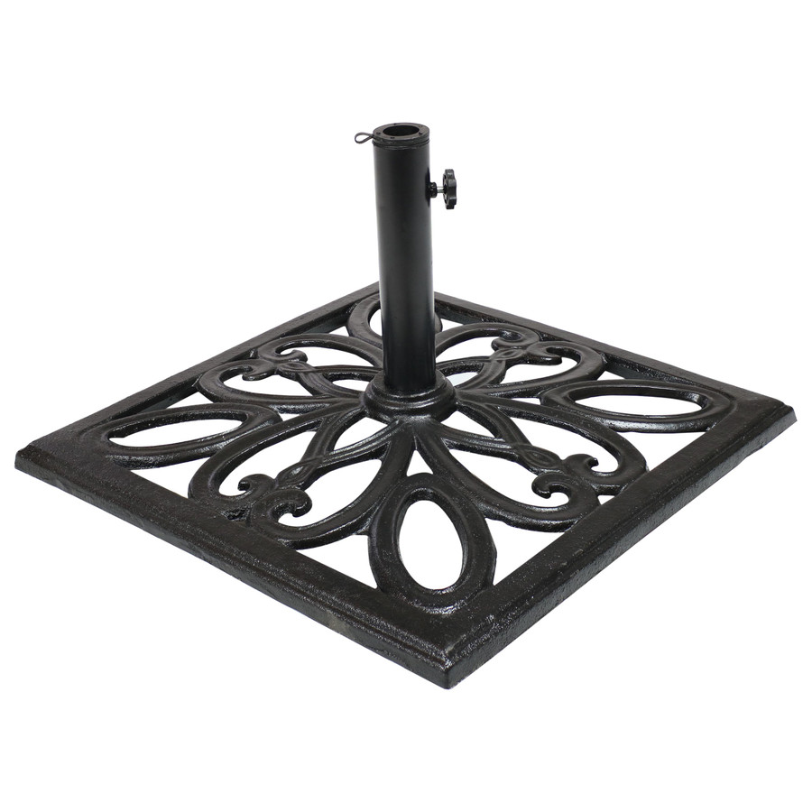 Cast Iron Black Finish Heavy-Duty Umbrella Base with Imperial Geometric Design