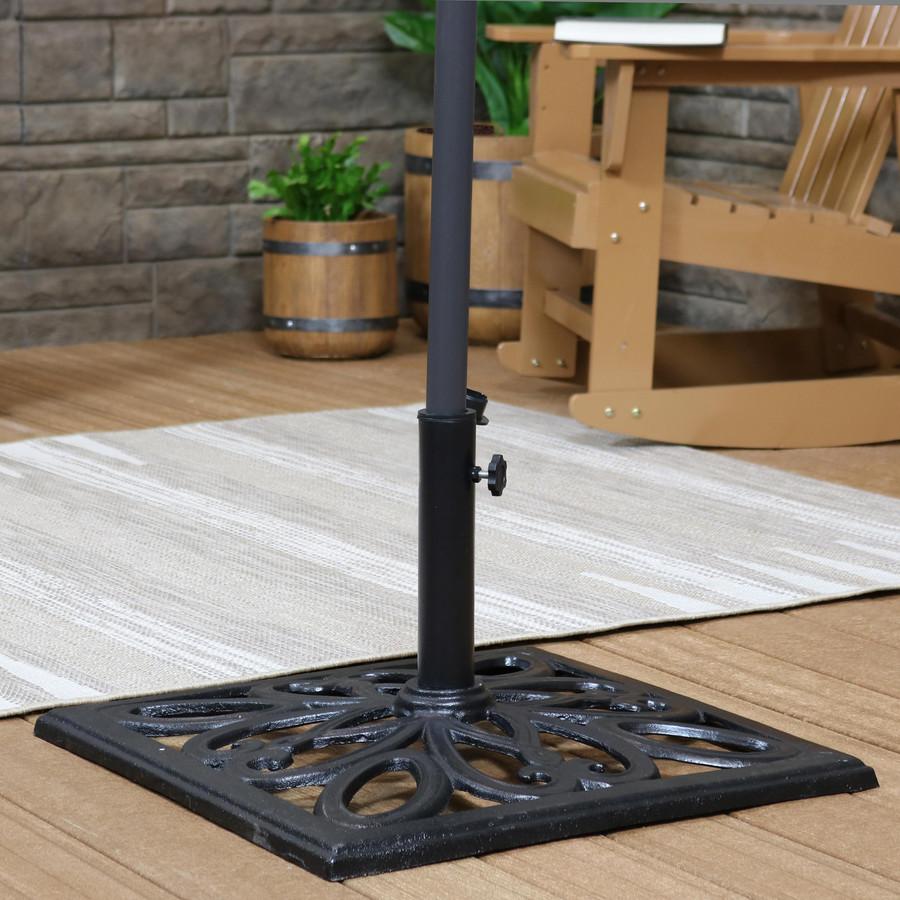 Cast Iron Black Finish Heavy-Duty Umbrella Base with Imperial Geometric Design