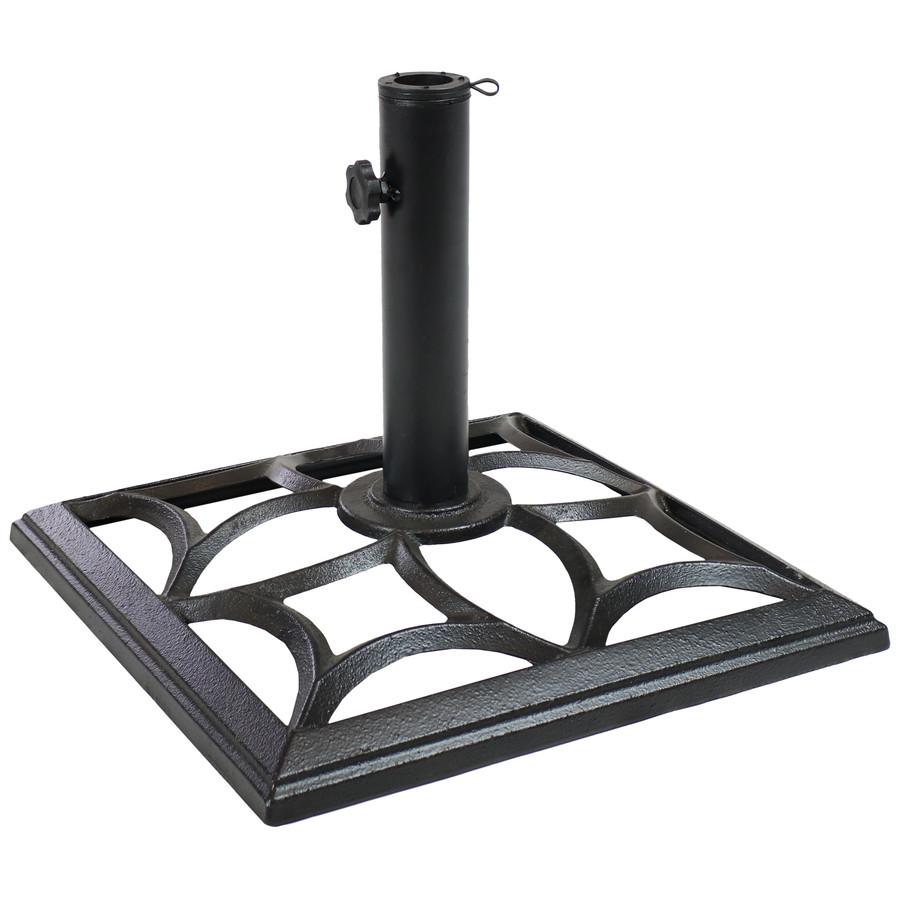 Cast Iron Black Finish Umbrella Base with Classic Geometric Design