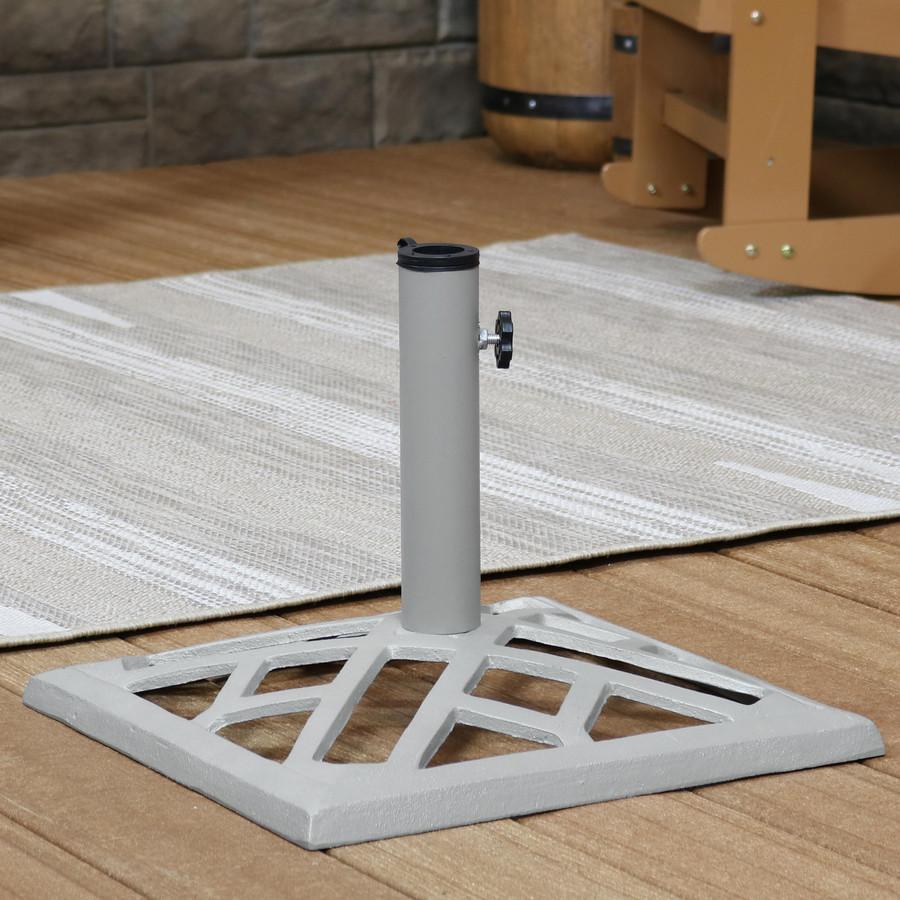 Square Gray Cast Iron Umbrella Base with Geometric Rectangle Design