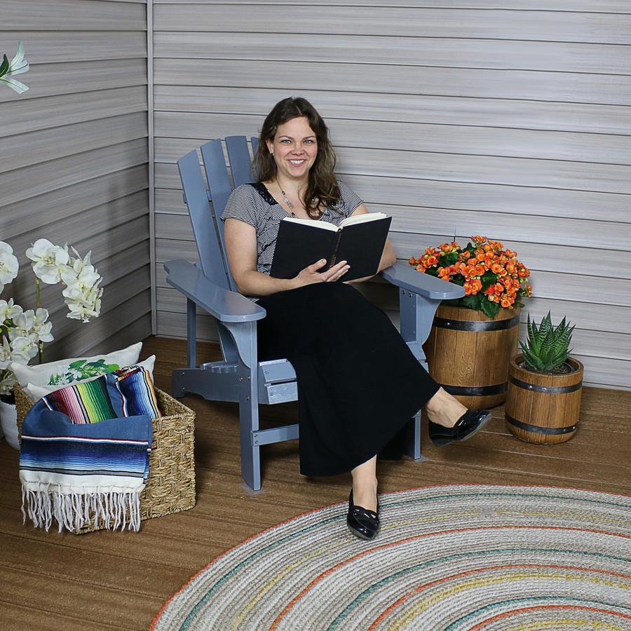 Coastal Bliss Outdoor Wooden Adirondack Patio Chair, Gray