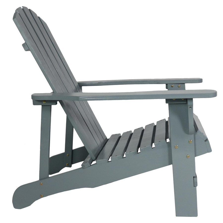 Coastal Bliss Outdoor Wooden Adirondack Patio Chair, Gray, Side View