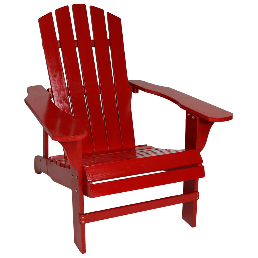 Coastal Bliss Outdoor Wooden Adirondack Patio Chair, Red