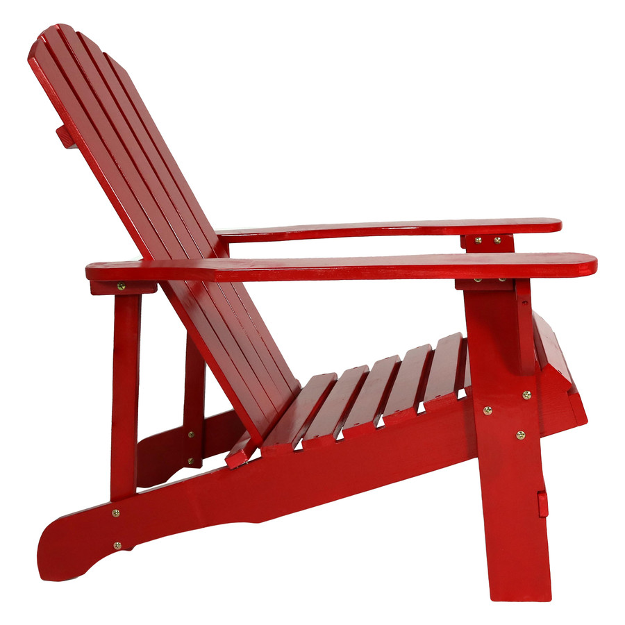 Coastal Bliss Outdoor Wooden Adirondack Patio Chair, Red, Side View