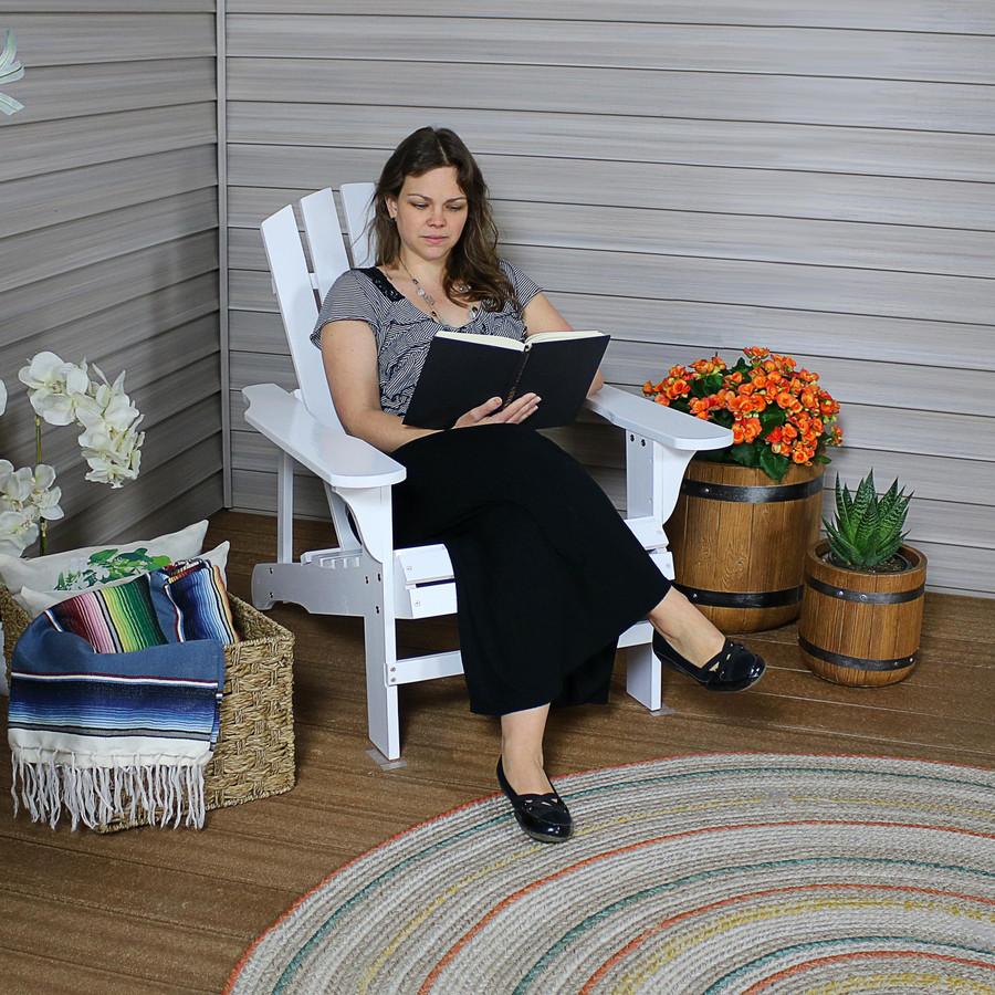 Coastal Bliss Outdoor Wooden Adirondack Patio Chair, White