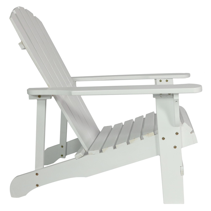Coastal Bliss Outdoor Wooden Adirondack Patio Chair, White, Side View