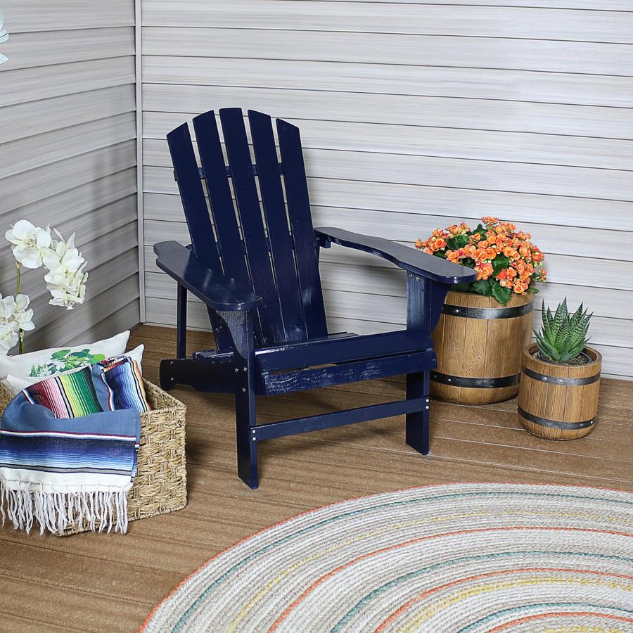 Coastal Bliss Outdoor Wooden Adirondack Patio Chair, Navy