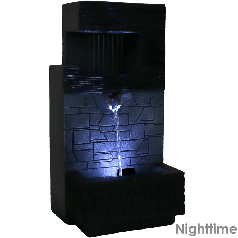 Modern Tiered Brick Wall Tabletop Indoor Water Fountain with LED Light, Nighttime