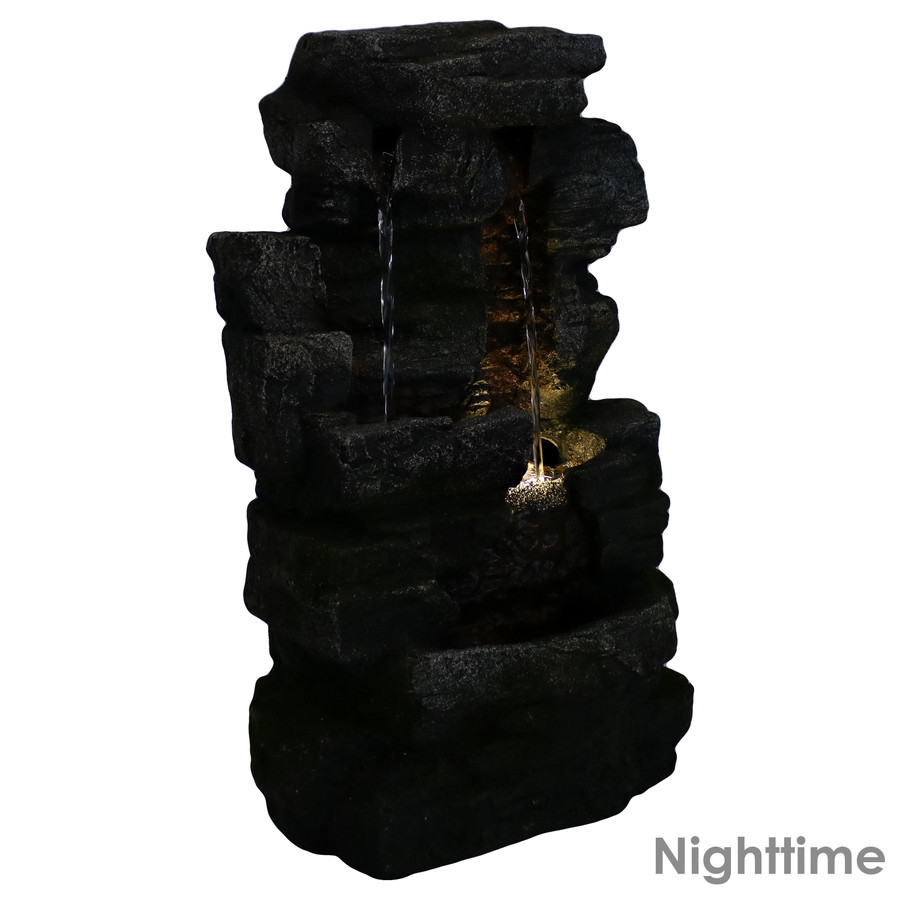 Towering Cave Waterfall Indoor Tabletop Water Fountain, Nighttime