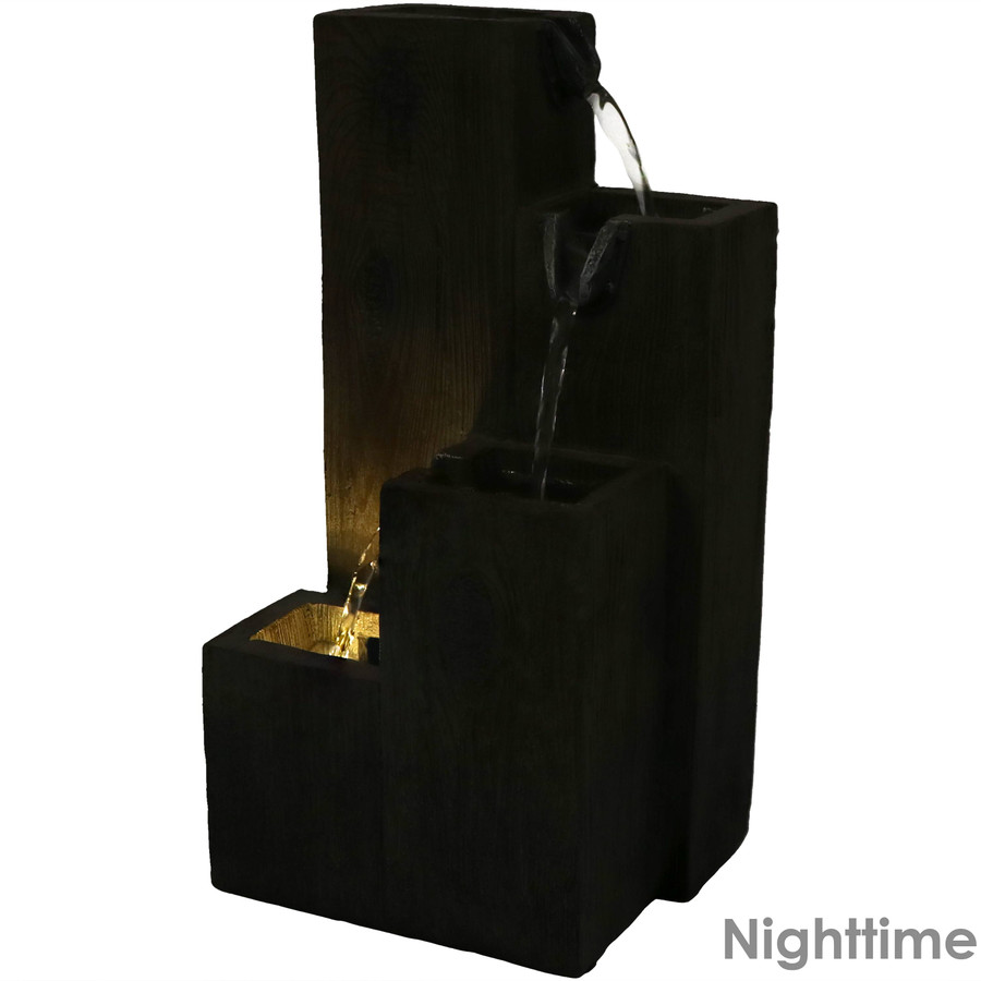 Faux Wood Tiered Pitchers Indoors Tabletop Water Fountain with LED Light, Nighttime