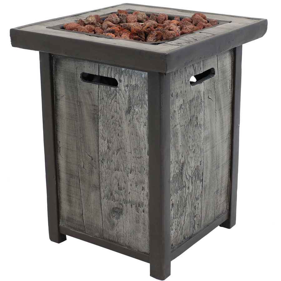 Sunnydaze Square Outdoor Propane Gas Fire Pit Table with Weathered Wood Look, 25 Inches Tall