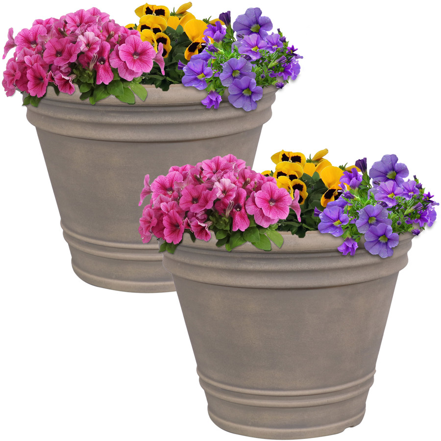 Franklin Indoor and Outdoor Resin Planter with Pebble Gray Finish, Set of 2