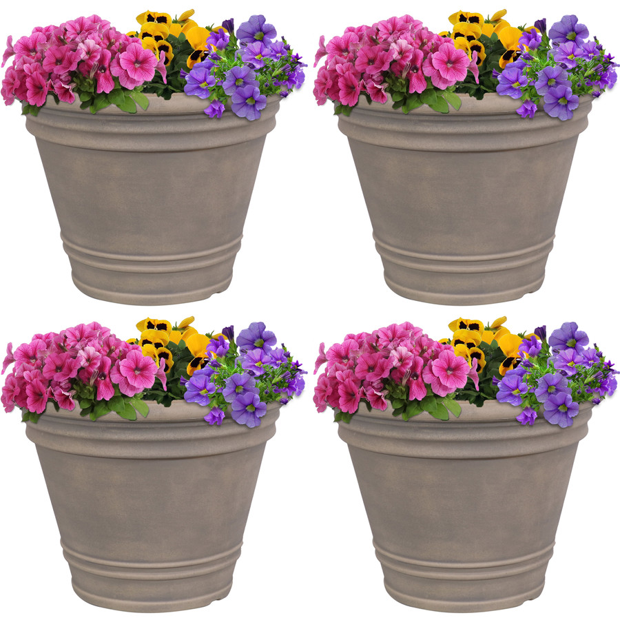 Franklin Indoor and Outdoor Resin Planter with Pebble Gray Finish, Set of 4