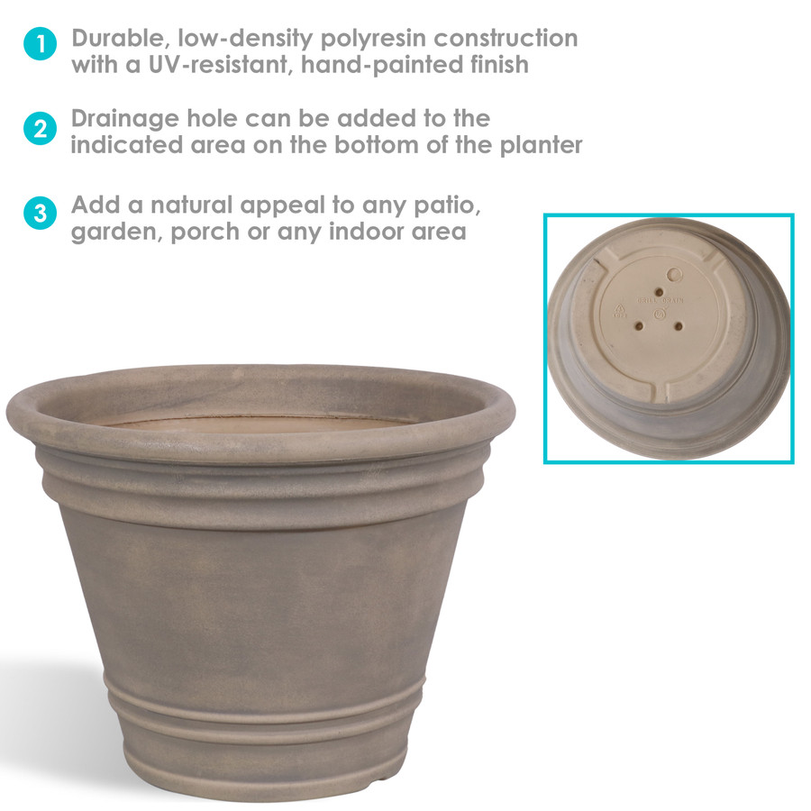 Franklin Indoor and Outdoor Resin Planter with Pebble Gray Finish Infographic