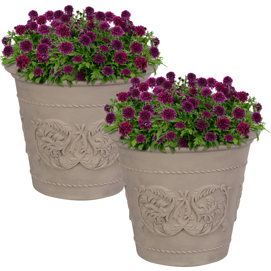 Arabella Swirling Vines Indoor and Outdoor Resin Planter with Pebble Gray Finish, Set of 2