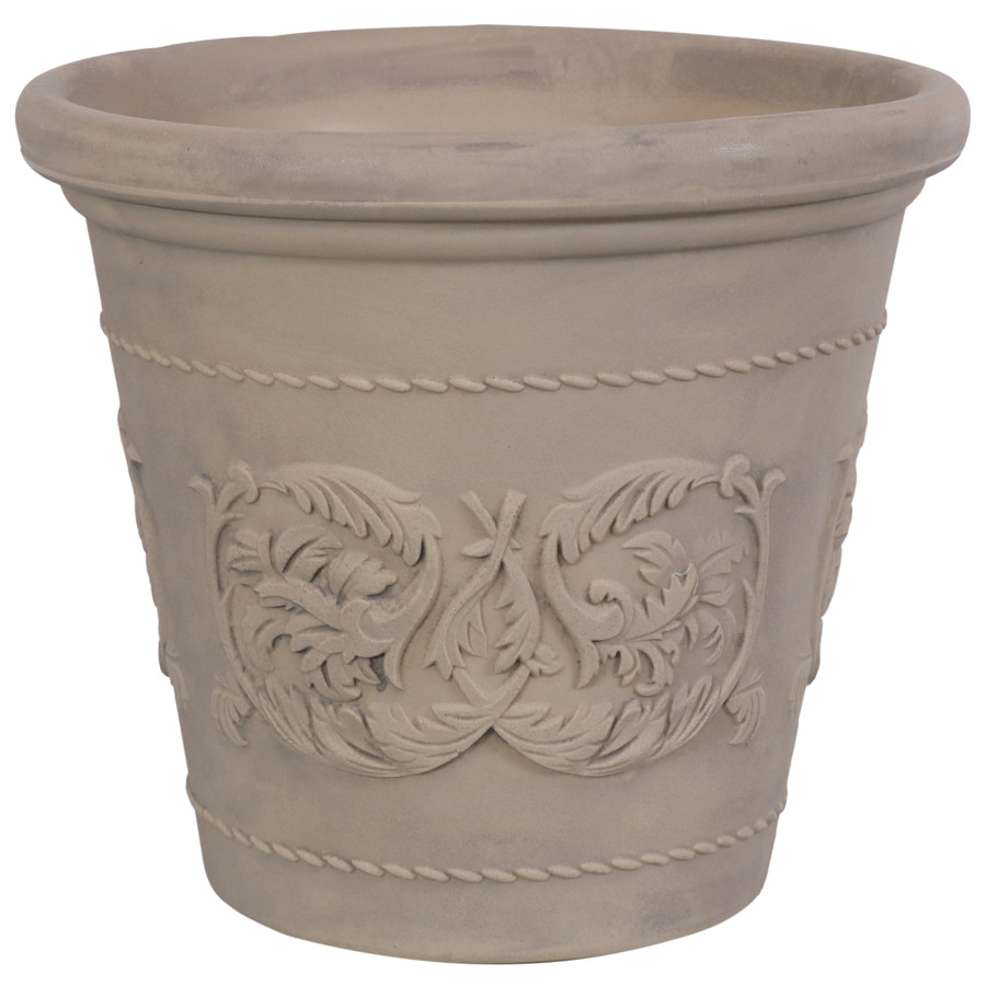 Arabella Swirling Vines Indoor and Outdoor Resin Planter with Pebble Gray Finish, Single