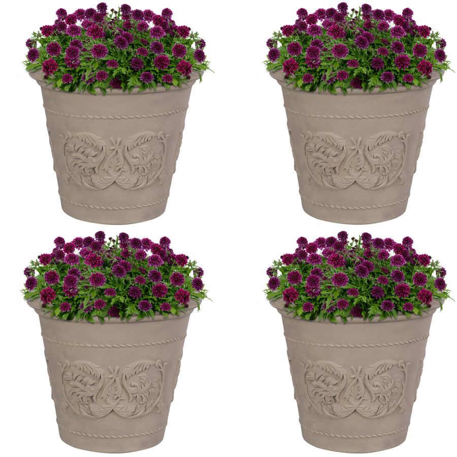 Arabella Swirling Vines Indoor and Outdoor Resin Planter with Pebble Gray Finish, Set of 4