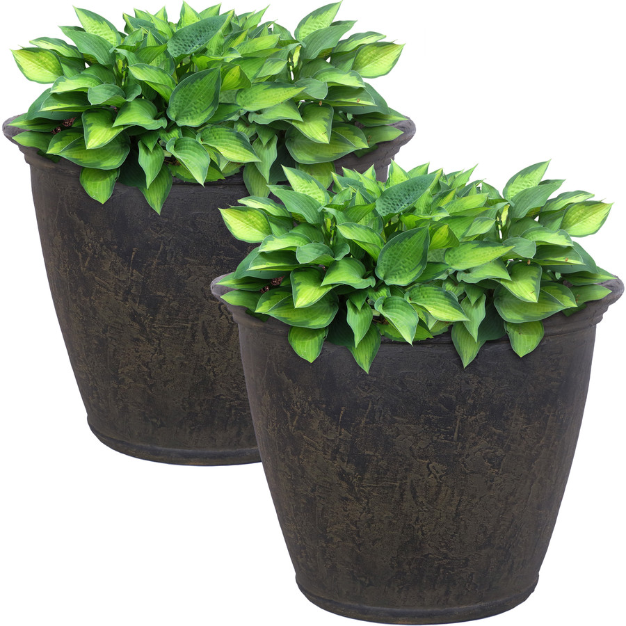 Anjelica Indoor and Outdoor Resin Planter with Sable Finish, Set of 2