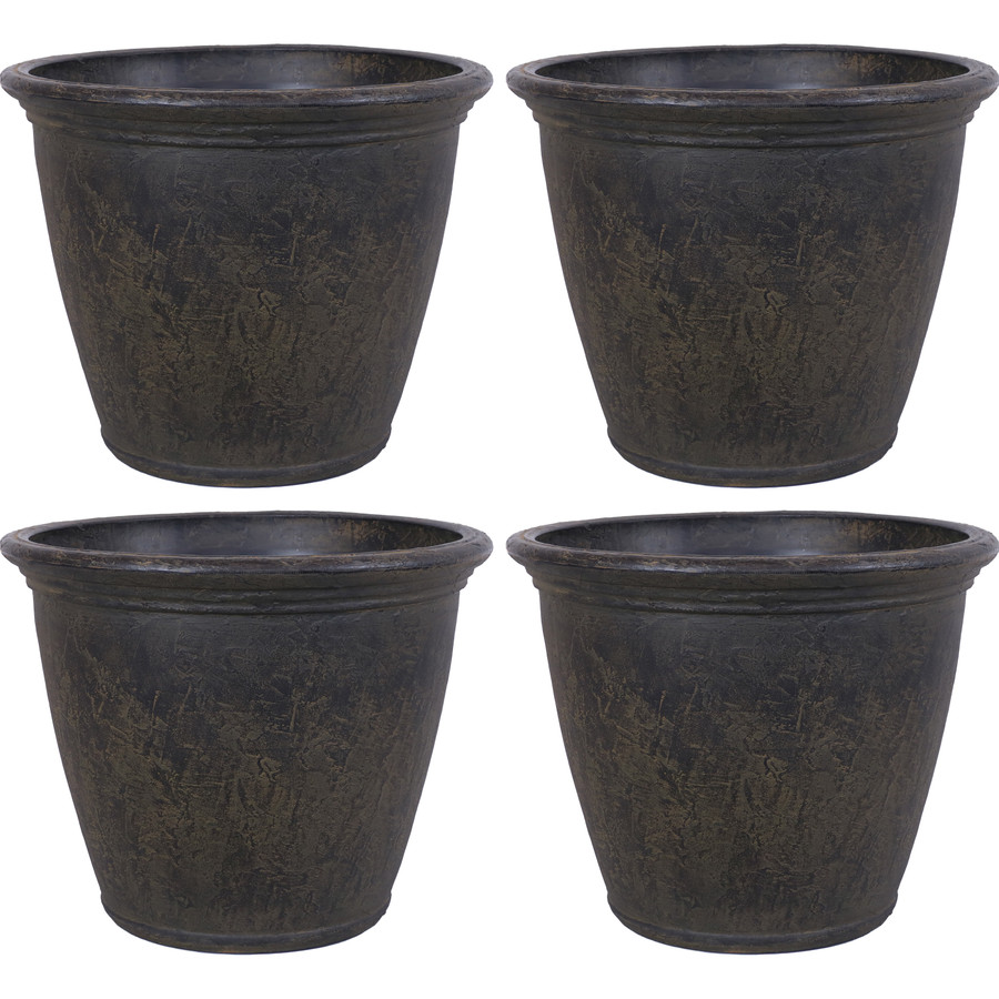 Anjelica Indoor and Outdoor Resin Planter with Sable Finish, Set of 4