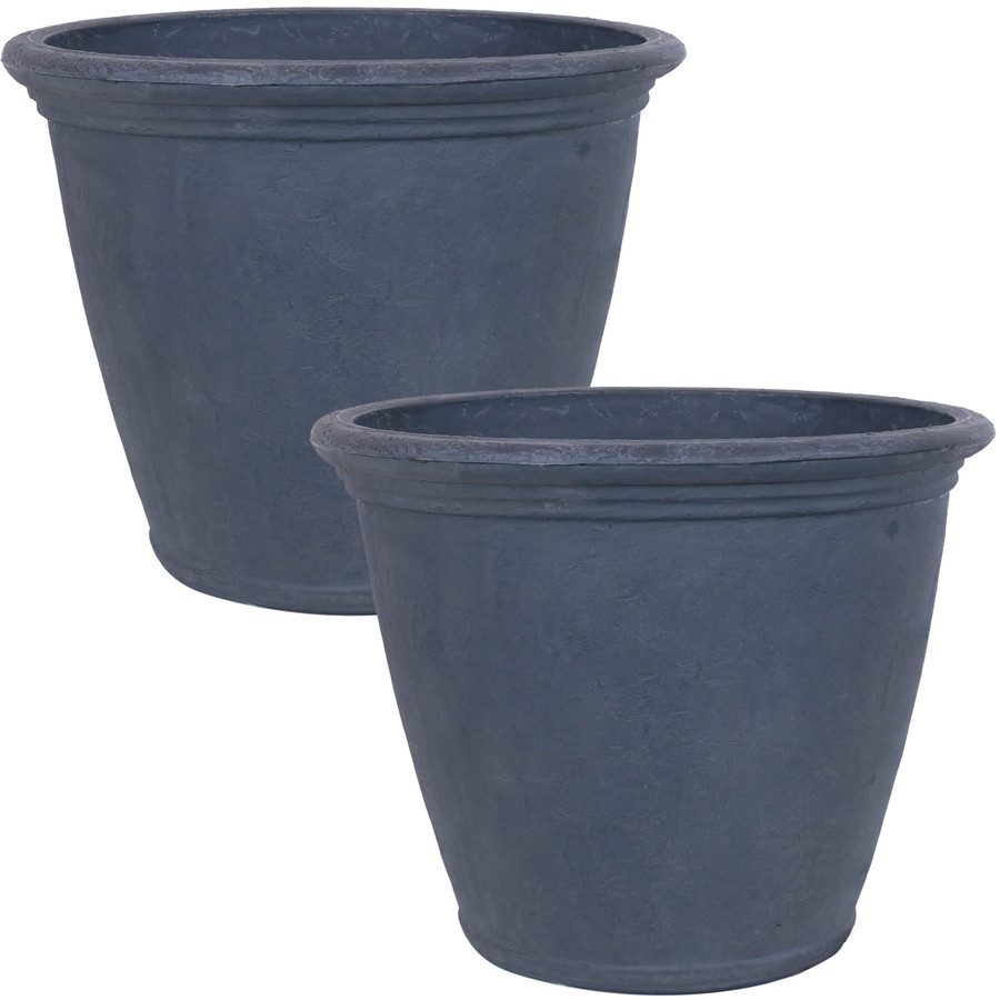 Anjelica Indoor and Outdoor Resin Planter with Slate Finish, Set of 2