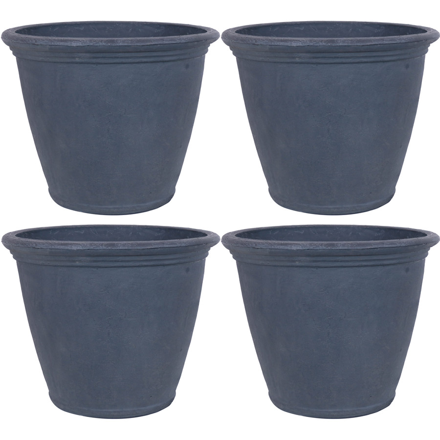 Anjelica Indoor and Outdoor Resin Planter with Slate Finish, Set of 4