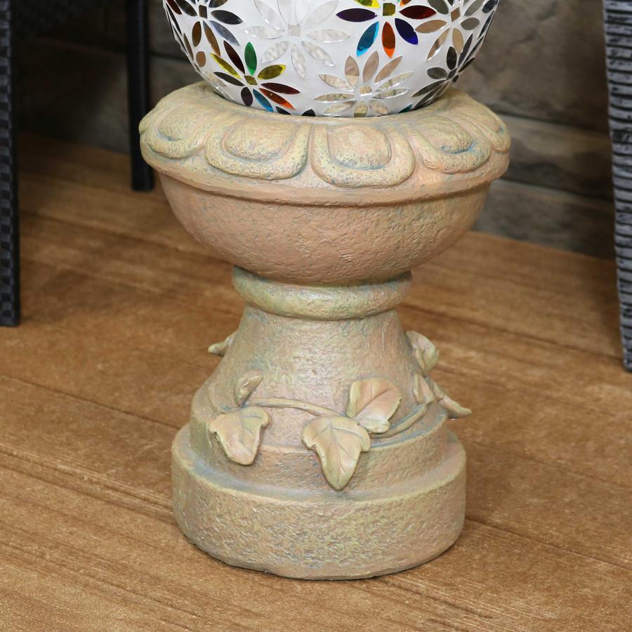 Sunnydaze Vintage Vine and Leaf Gazing Globe Stand, 13-Inch (Autumn Leaf)