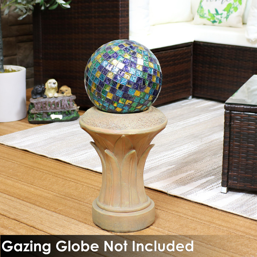 Sunnydaze Tropical Leaves Indoor/Outdoor Gazing Globe Stand - 16-Inch Tall