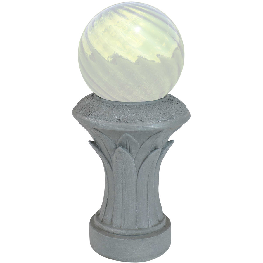Sunnydaze Tropical Leaves Indoor/Outdoor Gazing Globe Stand (Travertine)
