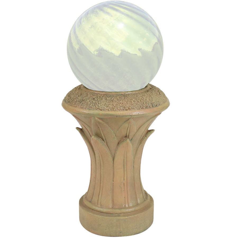 Sunnydaze Tropical Leaves Indoor/Outdoor Gazing Globe Stand (Autumn Leaf)