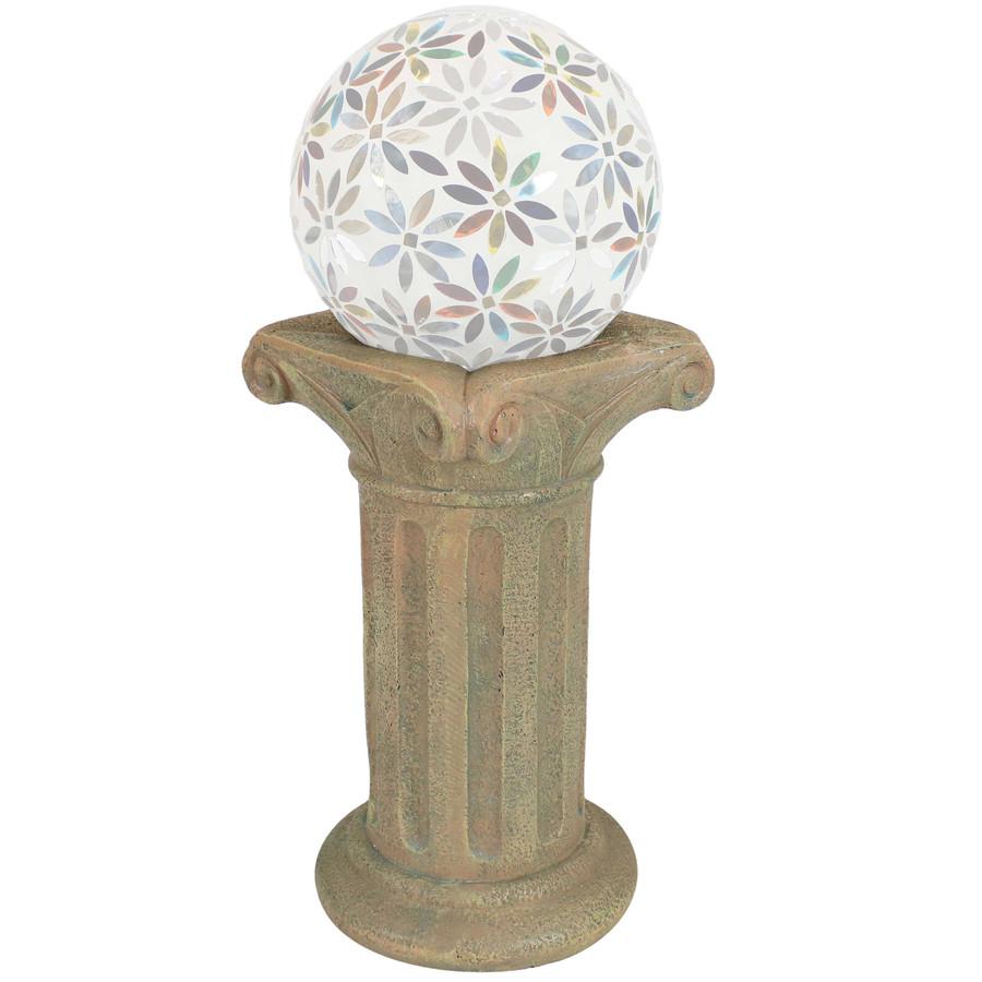 Sunnydaze Roman Pedestal Indoor/Outdoor Gazing Globe Stand (Autumn Leaf)