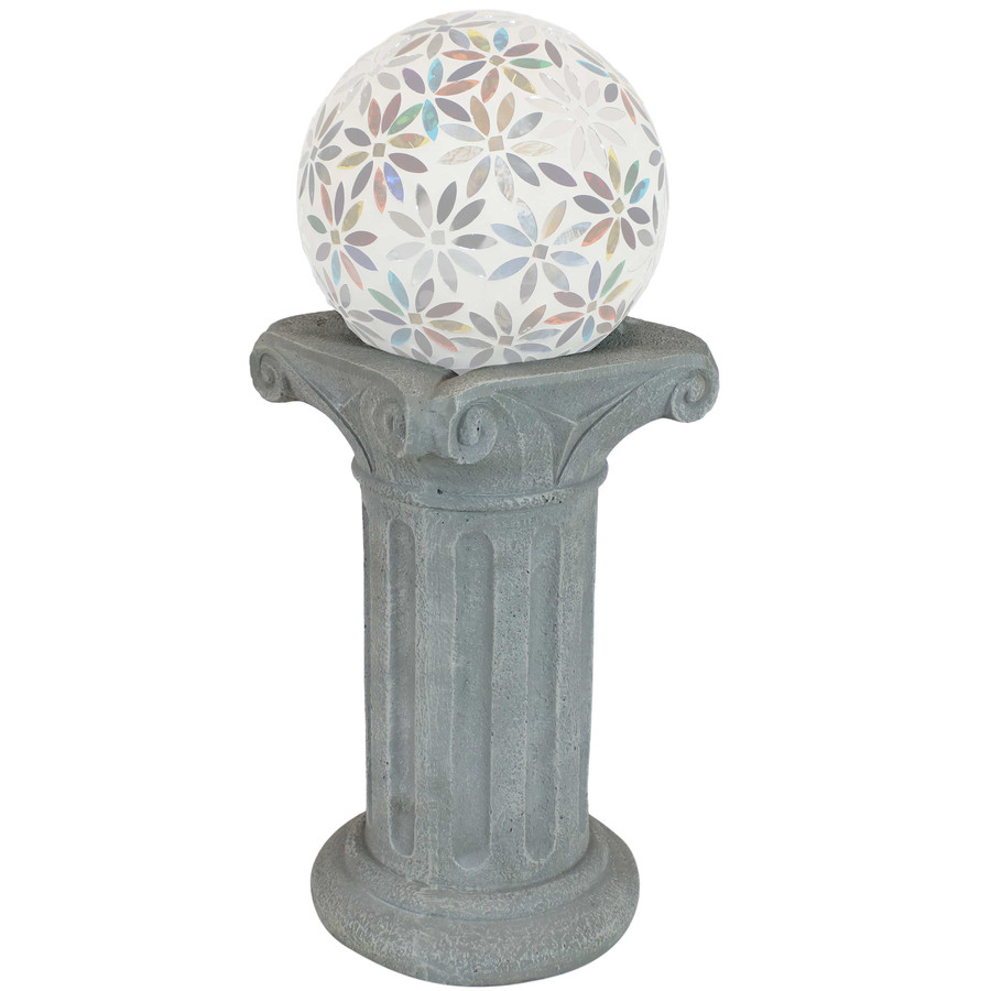 Sunnydaze Roman Pedestal Indoor/Outdoor Gazing Globe Stand (Travertine)