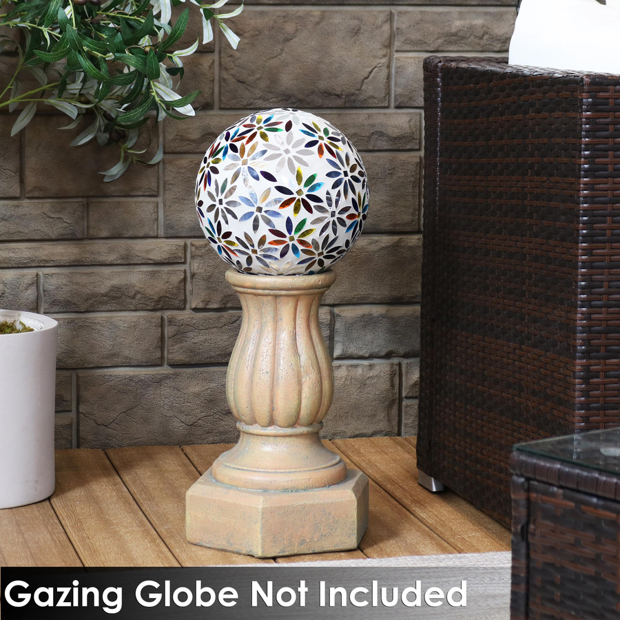 Sunnydaze Contemporary Pillar Indoor/Outdoor Gazing Globe Stand - 15-Inch Tall
