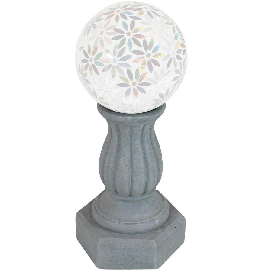 Sunnydaze Contemporary Pillar Indoor/Outdoor Gazing Globe Stand (Travertine)