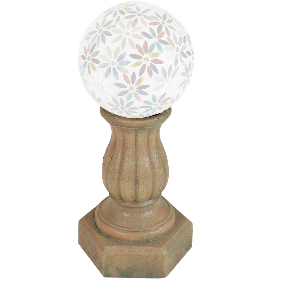 Sunnydaze Contemporary Pillar Indoor/Outdoor Gazing Globe Stand (Autumn Leaf)