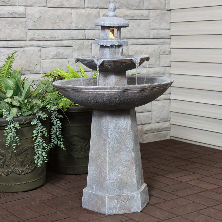 Sunnydaze 2-Tiered Pagoda Outdoor Water Fountain with LED Light, 40-Inch