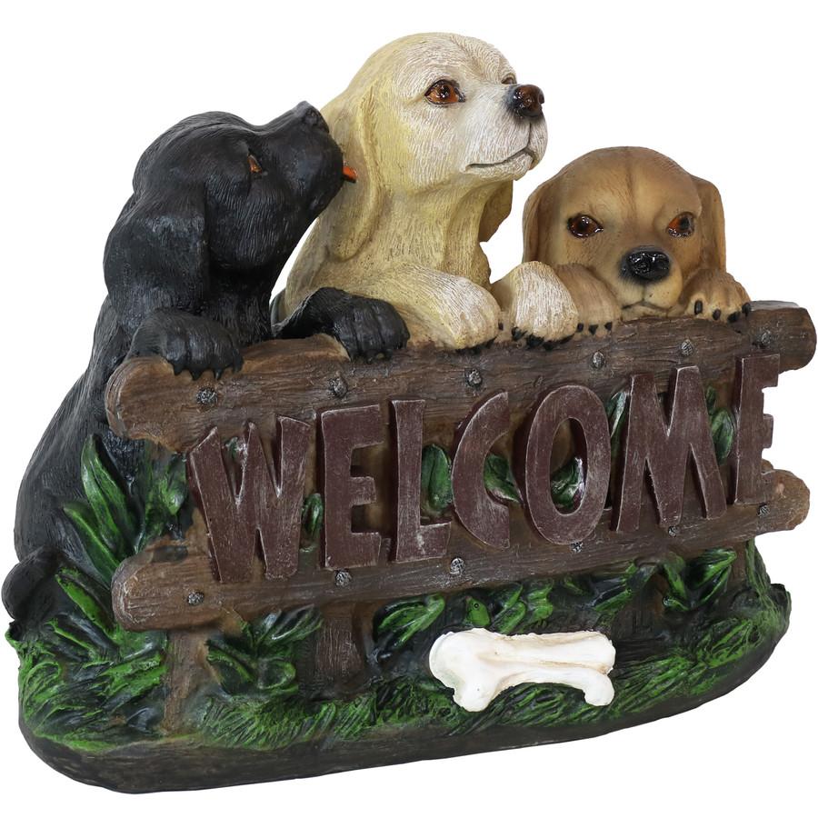 Sunnydaze Welcoming Puppies Indoor/Outdoor Garden Statue, 8-Inch
