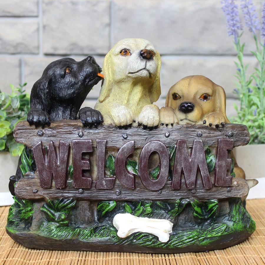 Sunnydaze Welcoming Puppies Indoor/Outdoor Garden Statue, 8-Inch Lifestyle