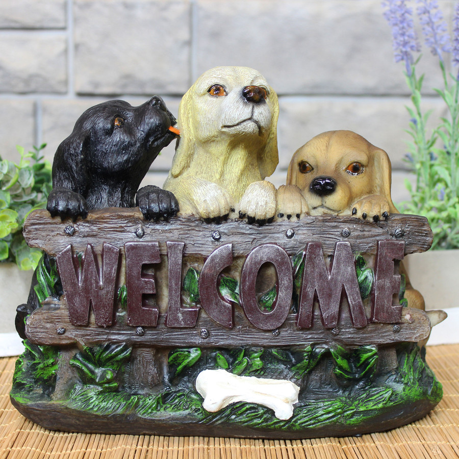 Sunnydaze Welcoming Puppies Indoor/Outdoor Garden Statue, 8-Inch Lifestyle